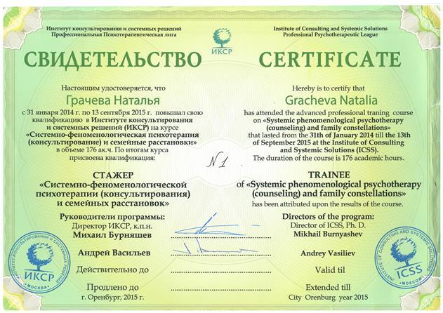 Сертификат Расстановки